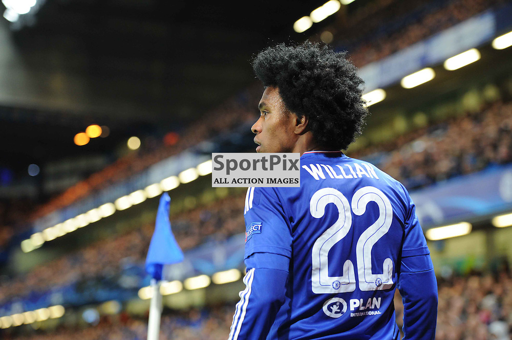 Chelseas Willian steps up to take a corner during the Chelsea v FC Porto Champions League match in the group stage on the 9th December 2015.