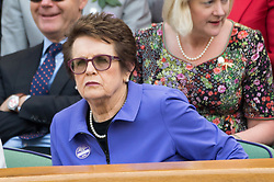 © Licensed to London News Pictures. 12/07/2018. London, UK. Billie Jean King watches the women's semi-finals round singles draw of the Wimbledon Tennis Championships 2018, at the All England Lawn Tennis and Croquet Club. Photo credit: Ray Tang/LNP