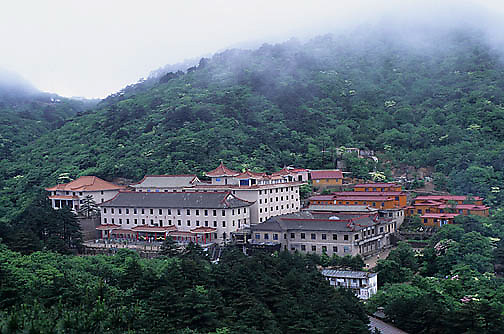 China, Yellow mountains. Hotel for tourists visiting area.