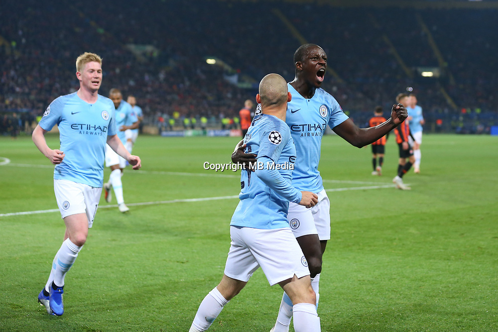 KHARKOV, UKRAINE - OCTOBER 23: players of Manchester City celebrate a goal during the Group F match of the UEFA Champions League between FC Shakhtar Donetsk and Manchester City at Metalist Stadium on October 23, 2018 in Kharkov, Ukraine. (Photo by MB Media/Getty Images)