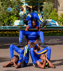 Edinburgh, Scotland, UK; 1 August, 2018. Bone Breakers,   artists Soulemane Soumah, Norbert Tonguino, Alhassane Keita, Mohamed Bangoura from West Africa, perform at photocall as part of Edinburgh Fringe Festival in Princes Street Gardens.