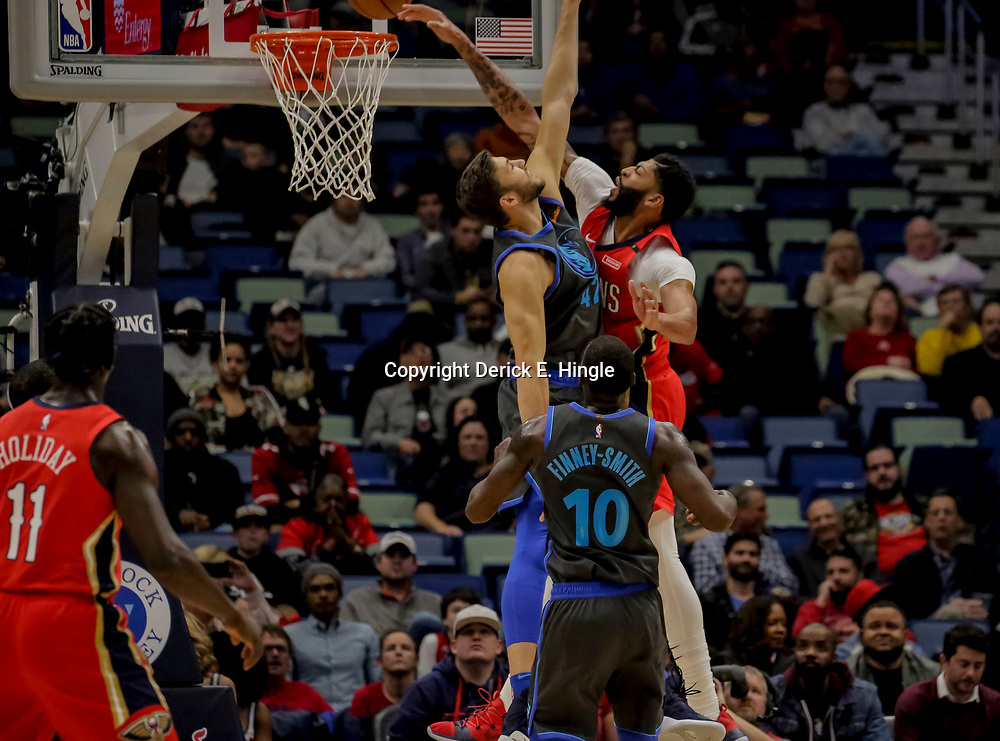 Dec 5, 2018; New Orleans, LA, USA; Dallas Mavericks forward Maximilian Kleber (42) defends as New Orleans Pelicans forward Anthony Davis (23) misses on a dunk attempt during the first quarter at the Smoothie King Center. Mandatory Credit: Derick E. Hingle-USA TODAY Sports