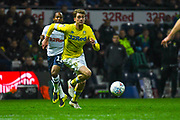 Patrick Bamford of Leeds United (9) in action during the EFL Sky Bet Championship match between Preston North End and Leeds United at Deepdale, Preston, England on 9 April 2019.