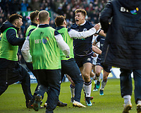 EDINBURGH, SCOTLAND - FEBRUARY 24:  Scotland's Huw Jones celebrates scoring his side's 3rd try during the 6 Nations clash between Scotland and England   at BT Murrayfield on February 24, 2018 in Edinburgh, Scotland. (Photo by MB Media/Getty Images)