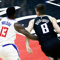 26 December 2017: Sacramento Kings guard Bogdan Bogdanovic (8) drives past LA Clippers forward Jamil Wilson (13) during the LA Clippers 122-95 victory over the Sacramento Kings, at the Staples Center, Los Angeles, California, USA.