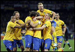 Sweden Celebrate scoring a goal against England in the Group D Sweden v England match, June 15, 2012, in Kiev during the UEFA Euro 2012. Photo by Imago/i-Images
