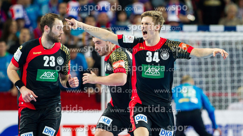 20.01.2016, Jahrhunderthalle, Breslau, POL, EHF Euro 2016, Deutschland vs Slowenien, Gruppe C, im Bild Rune Dahmke (Nr. 34, THW Kiel) freut sich. // during the 2016 EHF Euro group C match between Germany and Slovenia at the Jahrhunderthalle in Breslau, Poland on 2016/01/20. EXPA Pictures &copy; 2016, PhotoCredit: EXPA/ Eibner-Pressefoto/ Koenig<br /> <br /> *****ATTENTION - OUT of GER*****