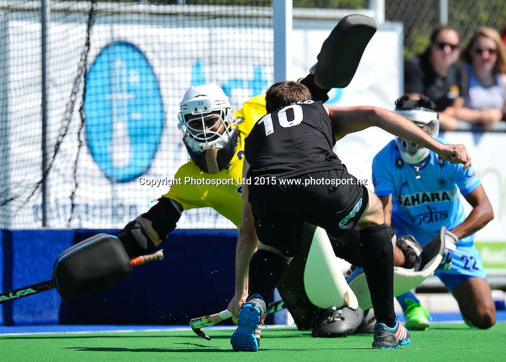 Harjot Singh of India saves a shot from Ryan ARCHIBALD of the Black Sticks during the Mens Hockey International, 2015 South Island Tour game between the New Zealand Black Sticks V India, at Marist Park, Christchurch, on the 11th October 2015. Copyright Photo: John Davidson / www.photosport.nz