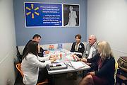 "BENTONVILLE, AR - JULY 7:  Rene Sandler, Lou Rhuda and Tom Gladfelter of ""Blamtastic"" make their presentation to Michelle Gloeckler (Walmart Executive Vice President), Laura Hodges (Walmart Buyer) at the Walmart Head Quarters in Bentonville, Arkansas.<br /> Wesley Hitt for the Wall Street Journal"