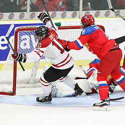 COBOURG, - Dec 19, 2015 -  Gold Metal Game - Russia vs Canada West at the 2015 World Junior A Challenge at the Cobourg Community Centre, ON. Tyson Jost #10 of Team Canada West celebrates the goal during the third period.(Photo: Tim Bates / OJHL Images)