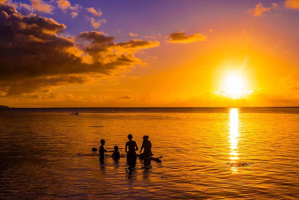 Sunset, island of Moorea, French Polynesia.
