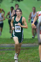 Robert Reynolds (149/George Mason University).  The Lou Onesty Invitational Cross Country meet was hosted by the University of Virginia XC team and held at Panorama Farms near Charlottesville, VA on September 6, 2008.  Athletes endured rain and wind from Tropical Storm Hanna during the race.