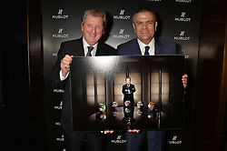 On 25th April 2014 in London at the Hublot Boutique in New Bond Street, Ricardo Guadalupe, CEO of Hublot, presented Roy Hodgson, the Manager of the England National football team, with a watch that has been created and named in his honour. The Hublot King Power 66 Hodgson is a Limited Edition of 66 pieces to commemorate the year that England won the World Cup. The idea was hatched from Roy's son Christopher who also collaborated with Hublot on the design of this amazing piece. The presentation was followed by a tour and a dinner at the House of Commons that was attended by Hublot VIP customers.<br /> <br /> PICTURE SHOWS:- Roy Hodgson, the Manager of the England National football team and Ricardo Guadalupe, CEO of Hublot.
