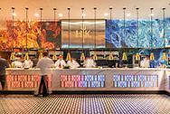 The open kitchen at Gordon Ramsay Hell's Kitchen.