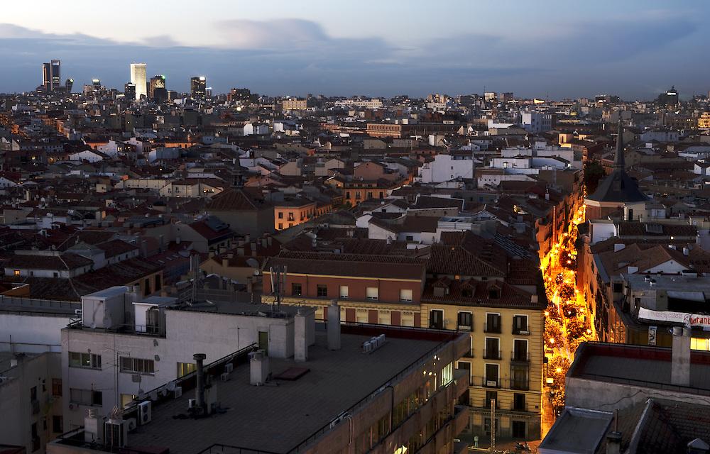 Madrid at dusk. (Spain)<br /> Madrid al anochecer (Espa&ntilde;a.