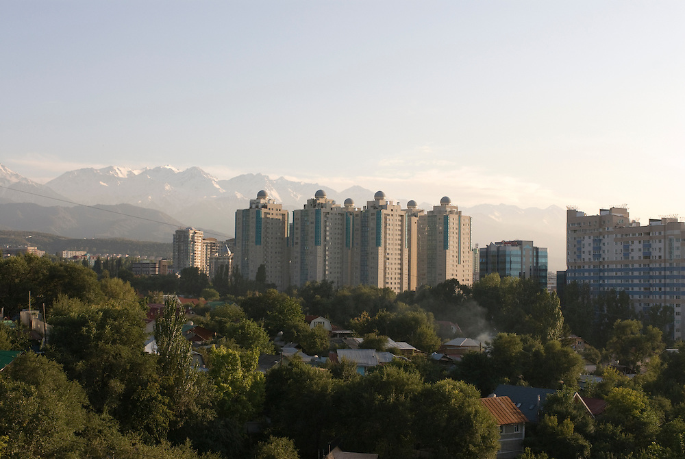 Skyline of Almaty, Altau Range in background, Kazakhstan