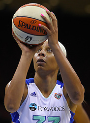 June 3, 2012; Newark, NJ, USA; New York Liberty forward Pienette Pierson (33) takes a free throw during the first half at the Prudential Center.