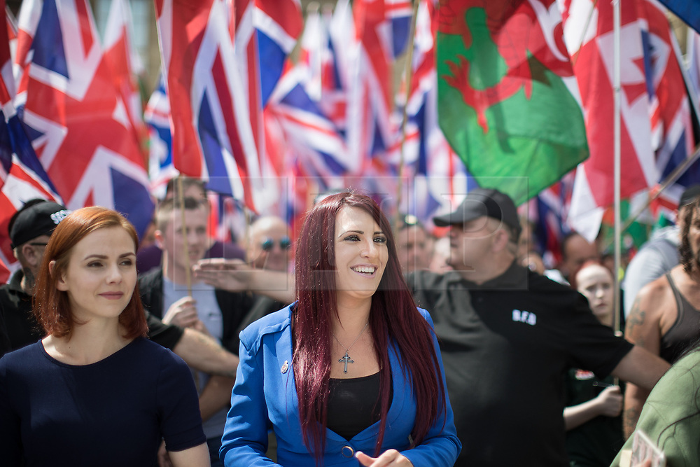 © Licensed to London News Pictures . 22/07/2017 . Rochdale , UK . JAYDA FRANSEN . Britain First hold a demonstration in Rochdale , opposed by anti-fascist groups . Britain First say they are highlighting concerns about child sexual exploitation in the town . Photo credit: Joel Goodman/LNP