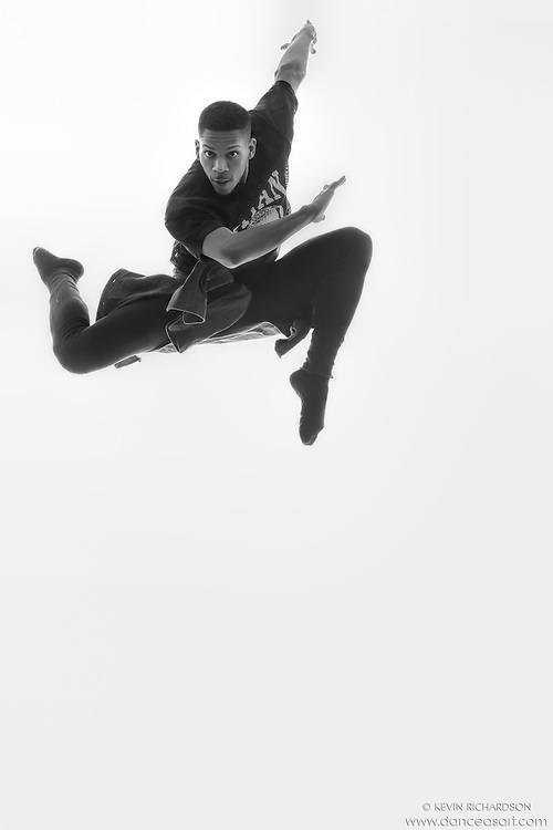 Black and white dance photography- Escape- featuring Dance As Art dancer Jarrett Rashad