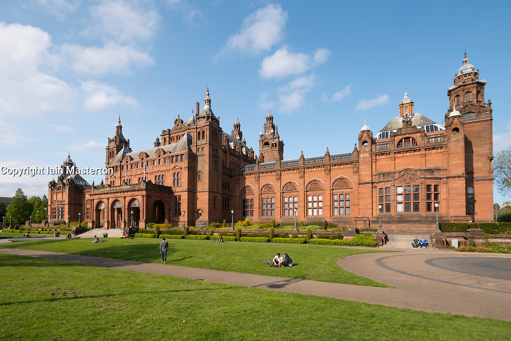Exterior of Kelvingrove Art Gallery and Museum in Kelvingrove Park in west end of Glasgow, Scotland, united Kingdom
