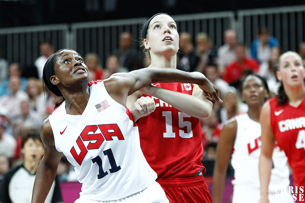 07 August 2012: USA Swin Cash vies for the rebound with Canada Michelle Plouffe during 91-48 Team USA victory over Team Canada, during the women's basketball quarter-finals, at the Basketball Arena, in London, Great Britain.