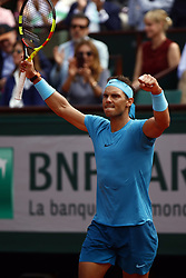 May 29, 2018 - Paris, Ile-de-France, France - Spain's Rafael Nadal  in action against Simone Bolelli (not seen) of Italy during their first round match at the French Open tennis tournament at Roland Garros Stadium in Paris, France on May 29, 2018. (Credit Image: © Mehdi Taamallah/NurPhoto via ZUMA Press)