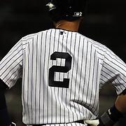 Derek Jeter, New York Yankees, at first base after a hit during the New York Yankees V New York Mets, Subway Series game at Yankee Stadium, The Bronx, New York. 12th May 2014. Photo Tim Clayton