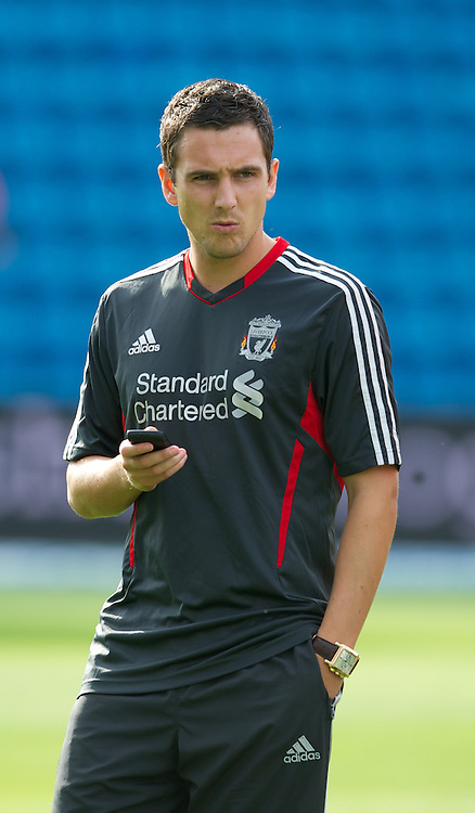 OSLO, NORWAY - Monday, August 1, 2011: Liverpool's Stewart Downing before the preseason friendly match against Valerenga at the Ulleval Stadion. (Photo by David Rawcliffe/Propaganda)