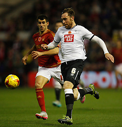 Nelson Oliveira of Nottingham Forest (L) and Richard Keogh of Derby County in action - Mandatory byline: Jack Phillips / JMP - 07966386802 - 6/11/2015 - FOOTBALL - The City Ground - Nottingham, Nottinghamshire - Nottingham Forest v Derby County - Sky Bet Championship