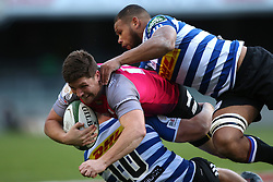 Hoffman Maritz of the Pumas is tackled by Robert du Preez of Western Province and Nizaam Carr of Western Province during the Currie Cup Premier Division match between the DHL Western Province and the Pumas held at the DHL Newlands rugby stadium in Cape Town, South Africa on the 17th September  2016<br /> <br /> Photo by: Shaun Roy / RealTime Images
