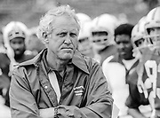 COLLEGE FOOTBALL:  Stanford Head Coach Bill Walsh looks on from the sidelines during an NCAA football game against the Oklahoma Sooners played on September  9, 1978 at Stanford Stadium in Palo Alto, California.  Photograph by David Madison. (www.davidmadison.com)
