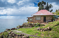 View of house  in Taquile Island in Lake Titicaca, Peru.