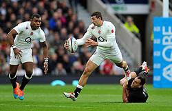 Jonny May of England  takes on the New Zealand defence - Photo mandatory by-line: Patrick Khachfe/JMP - Mobile: 07966 386802 08/11/2014 - SPORT - RUGBY UNION - London - Twickenham Stadium - England v New Zealand - 2014 QBE Internationals