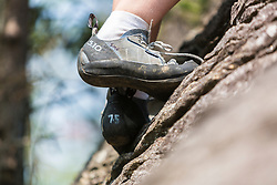 Rock climbing shoes on Square Ledge in New Hampshire's White Mountains.
