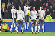 Manchester United block Hull City midfielder Sam Clucas (11) free kick  during the EFL Cup semi final match 2 between Hull City and Manchester United at the KCOM Stadium, Kingston upon Hull, England on 26 January 2017. Photo by Ian Lyall.