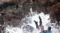 Nick Hancock failing on the first try to get on Rockall, for his reconnaissance mission for a future 60 day occupation of Rockall. The Rockall Jubilee Expedition, a unique endurance expedition to be undertaken by Nick, in order to raise funds for Help for Heroes .©Michael Schofield..