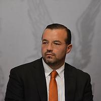 Toluca, México (Febrero 05, 2018).- Justo Núñez Skinfill, Secretario del Ayuntamiento de Toluca durante la ceremonia de Aniversario de la promulgacion de las Constituciones Federales de 1857 Y 1917.  Agencia MVT / Crisanta Espinosa.