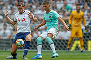 Tottenham Hotspur defender Jan Vertonghen (5) battles with Inter Milan forward Sebastiano Esposito (70) during the Pre-Season Friendly match between Tottenham Hotspur and Inter Milan at Tottenham Hotspur Stadium, London, United Kingdom on 4 August 2019.