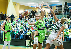 Nika Baric of Slovenia vs Neringa Skadaite of Lithuania during basketball match between Women National Teams of Slovenia and Lithuania in Qualifications of EuroBasket Women 2017, on November 19, 2016 in Gimnazija Celje, Slovenia. Photo by Vid Ponikvar / Sportida