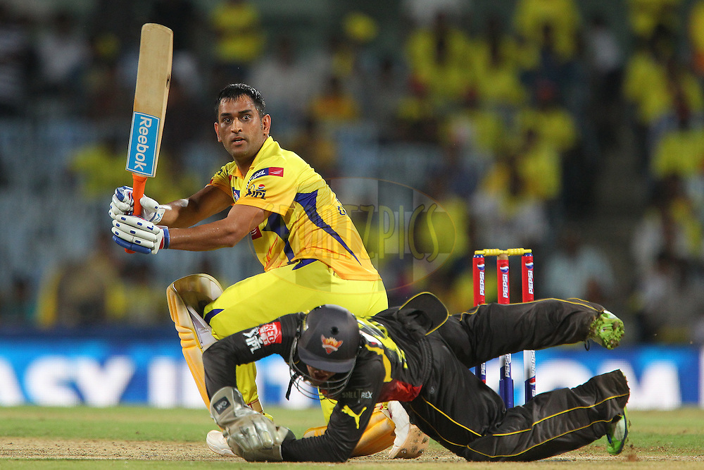 MS Dhoni slides the ball to the boundary leaving CSK needing 4 runs to win from 3 balls during match 34 of the Pepsi Indian Premier League between The Chennai Superkings and the Sunrisers Hyderabad held at the MA Chidambaram Stadiumin Chennai on the 25th April 2013..Photo by Ron Gaunt-IPL-SPORTZPICS    .. .Use of this image is subject to the terms and conditions as outlined by the BCCI. These terms can be found by following this link:..http://www.sportzpics.co.za/image/I0000SoRagM2cIEc