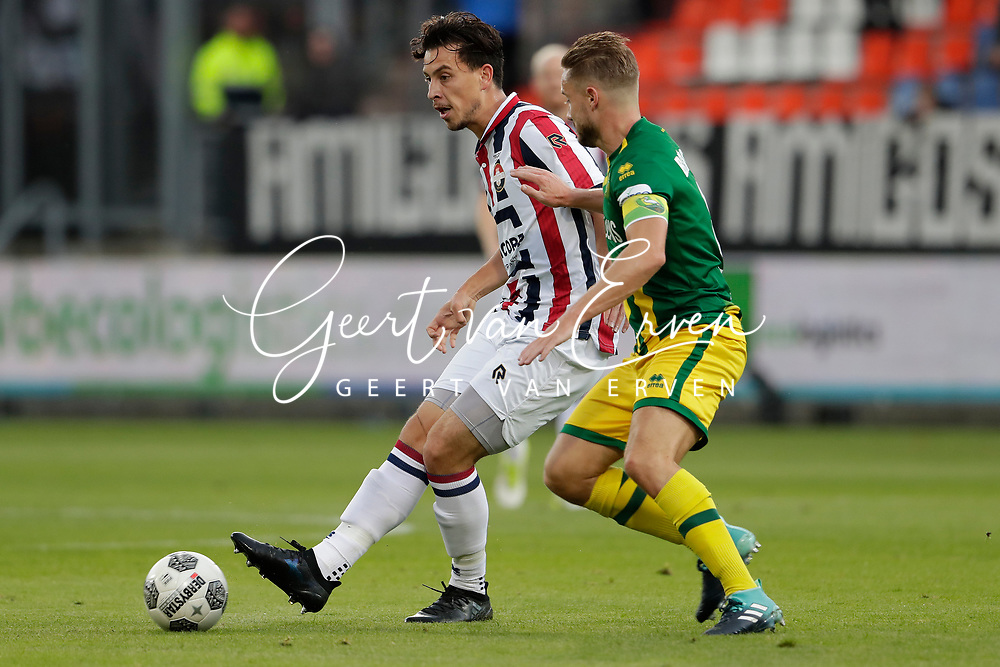Tom Haye of Willem II. Aaron Meijers of ADO Den Haag