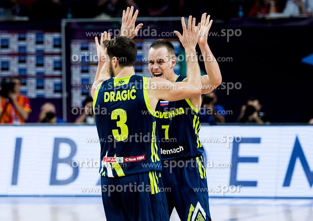 Goran Dragic of Slovenia and Klemen Prepelic of Slovenia celebrate during basketball match between National Teams of Slovenia and Spain at Day 15 in Semifinal of the FIBA EuroBasket 2017 at Sinan Erdem Dome in Istanbul, Turkey on September 14, 2017. Photo by Vid Ponikvar / Sportida