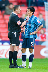 SHEFFIELD, ENGLAND - Saturday, March 1, 2008: Charlton Athletic's Zheng Zhi is repremanded by the referee during the League Championship match against Sheffield United at Bramall Lane. (Photo by David Rawcliffe/Propaganda)