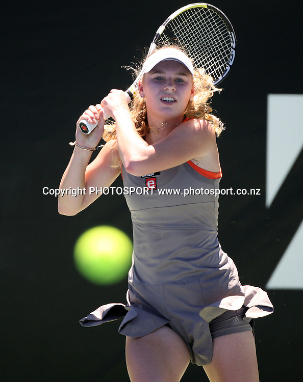 Denmark's Caroline Wozniacki during the second round at the ASB Classic, Stanley st Tennis Centre, Auckland, New Zealand. Wednesday 7  January 2009. Photo: Andrew Cornaga/PHOTOSPORT