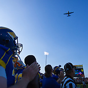 A military plane flies over Delaware Stadium before a week two match up with West Chester...#8 Delaware defeated Westchester 31-10  in their home opener at Delaware Stadium Saturday Sept. 10, 2011 in Newark DE...Delaware will return home Sept. 17, 2011 for a showdown with interstate Rival Delaware State at 6:pm at Delaware Stadium. (Monsterphoto/Saquan Stimpson)