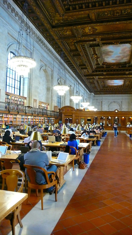 Reading room at the New York Public Library on Fifth Avenue and 42nd Street.