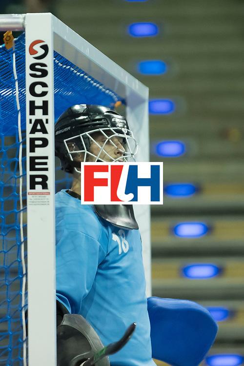 Hockey, Seizoen 2017-2018, 08-02-2018, Berlijn,  Max-Schmelling Halle, WK Zaalhockey 2018 MEN, Belgium - Russia 4-5, DRYANITSYN Artem (GK) (C) (RUS). Worldsportpics copyright Willem Vernes