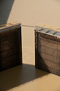 Floodgates of Miraflores Locks.  Panama Canal, Panama City, Panama, Central America.