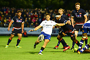 Max Green kicks clear during the Rugby Friendly match between Edinburgh Rugby and Bath Rugby at Meggetland Sports Compex, Edinburgh, Scotland on 17 August 2018.