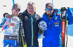 14.03.2019, Soldeu, AND, FIS Weltcup Ski Alpin, SuperG, alpine Kombination, Weltcupwertung, im Bild Alexis Pinturault (Frau, zweiter Platz Gesamtweltcup,erster Platz Kobination Weltcup und dritter Platz Riesenslalom Weltcup) Robert Trenkwalder Dominik Paris (ITA, erster Platz Super G Weltcup, zweiter Platz Abfahrts Welt Cup) // Winner of the Combined World Cup second place Overal World Cup and third place Giant Slalom World Cup Alexis Pinturault of France Robert Trenkwalder first place Super G World Cup and second place Downhill World Cup Dominik Paris of Italy after the winner ceremony for the Super-G and alpine combine Worldcup rating of FIS Ski Alpine World Cup finals. Soldeu, Andorra on 2019/03/14. EXPA Pictures © 2019, PhotoCredit: EXPA/ Erich Spiess